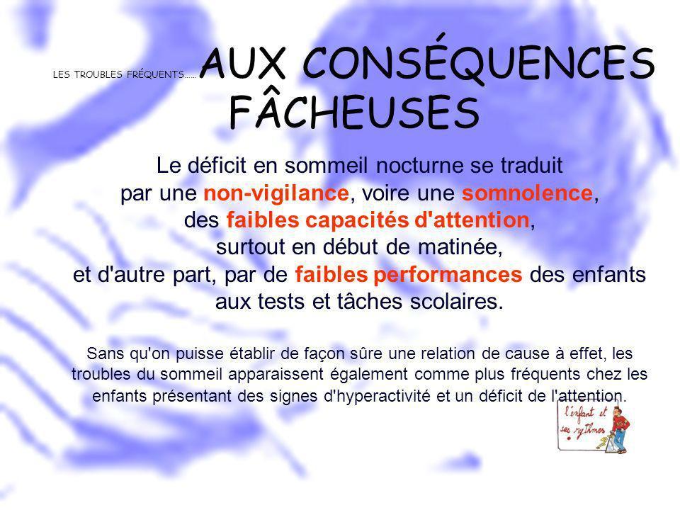 LES TROUBLES FRÉQUENTS……AUX CONSÉQUENCES FÂCHEUSES