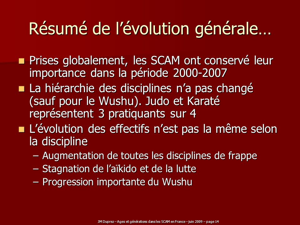 Résumé de l'évolution générale…