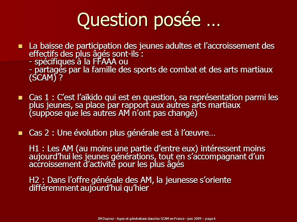 Question posée …