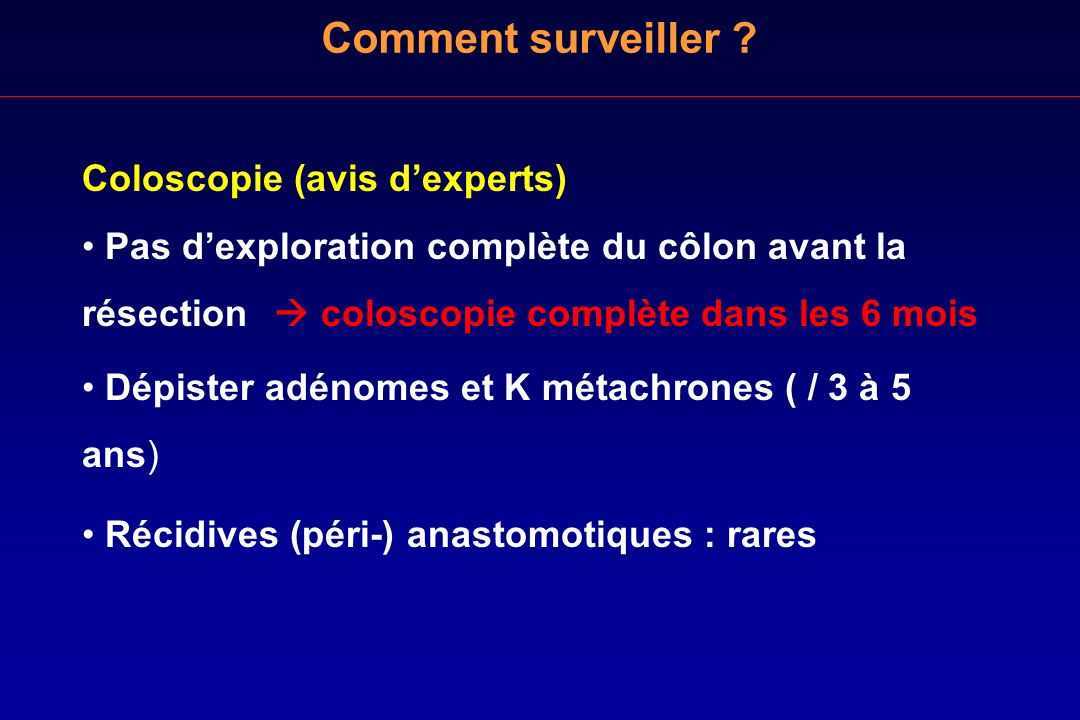Comment surveiller Coloscopie (avis d'experts)