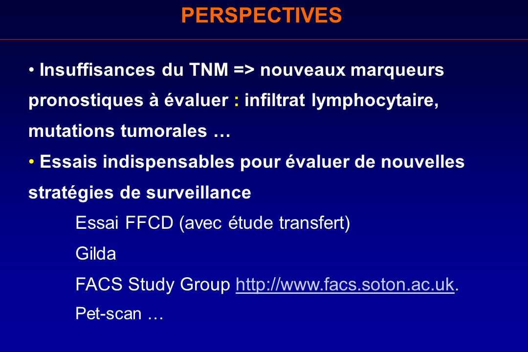 PERSPECTIVES Insuffisances du TNM => nouveaux marqueurs pronostiques à évaluer : infiltrat lymphocytaire, mutations tumorales …