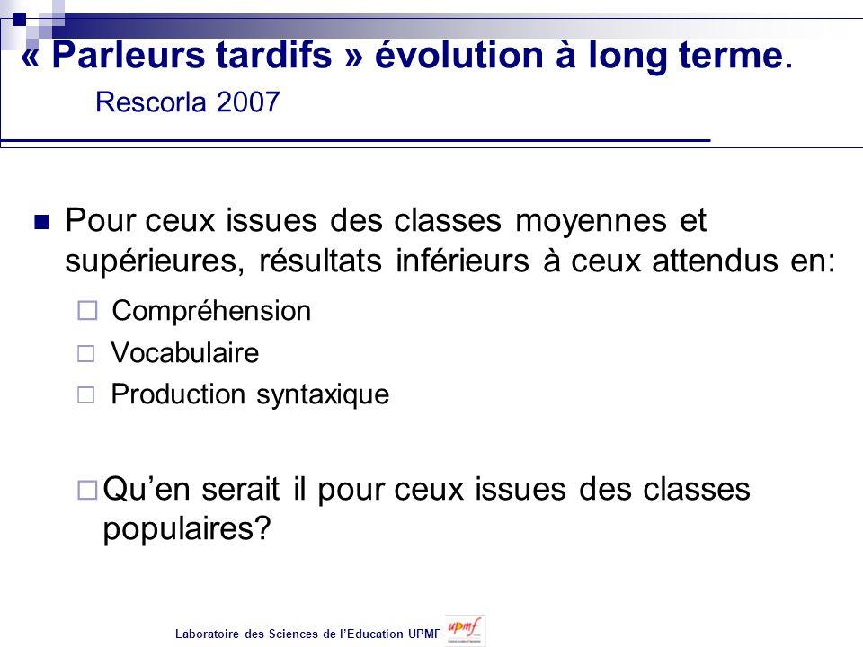 « Parleurs tardifs » évolution à long terme. Rescorla 2007