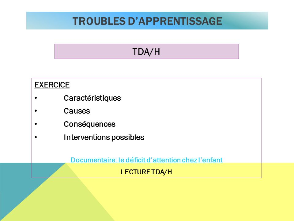 TROUBLES D'APPRENTISSAGE