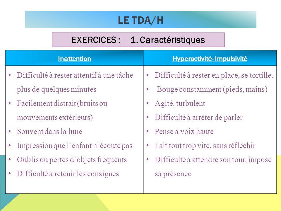 EXERCICES : 1. Caractéristiques Hyperactivité- Impulsivité