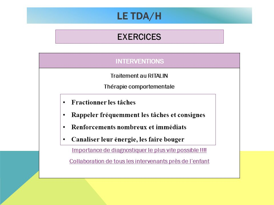 Le TDA/H EXERCICES INTERVENTIONS Fractionner les tâches