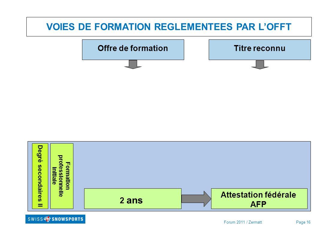 Formation professionnelle initiale Attestation fédérale AFP