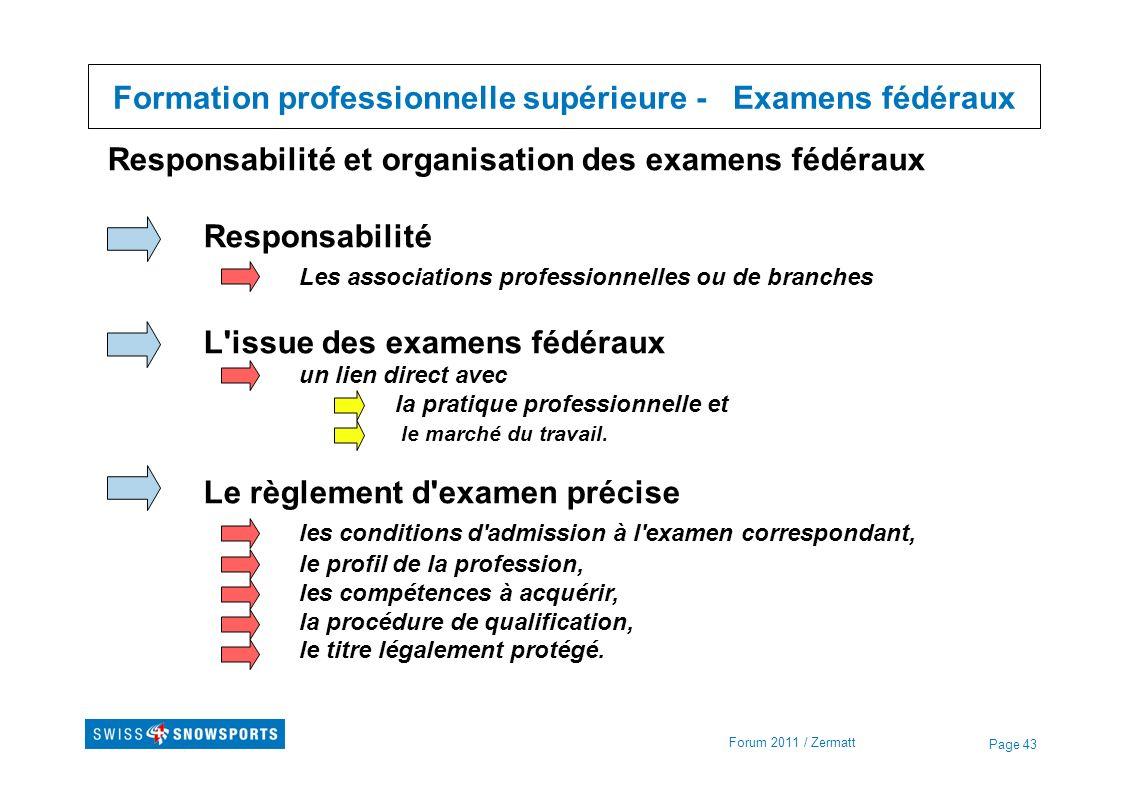 Formation professionnelle supérieure - Examens fédéraux