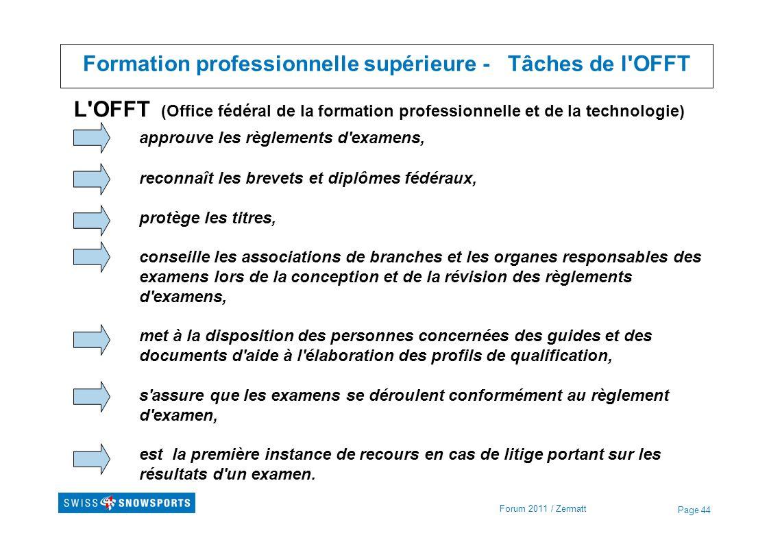 Formation professionnelle supérieure - Tâches de l OFFT