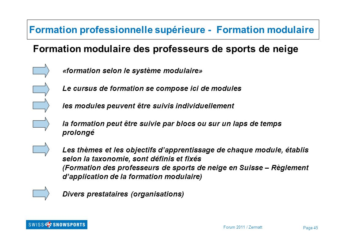 Formation professionnelle supérieure - Formation modulaire