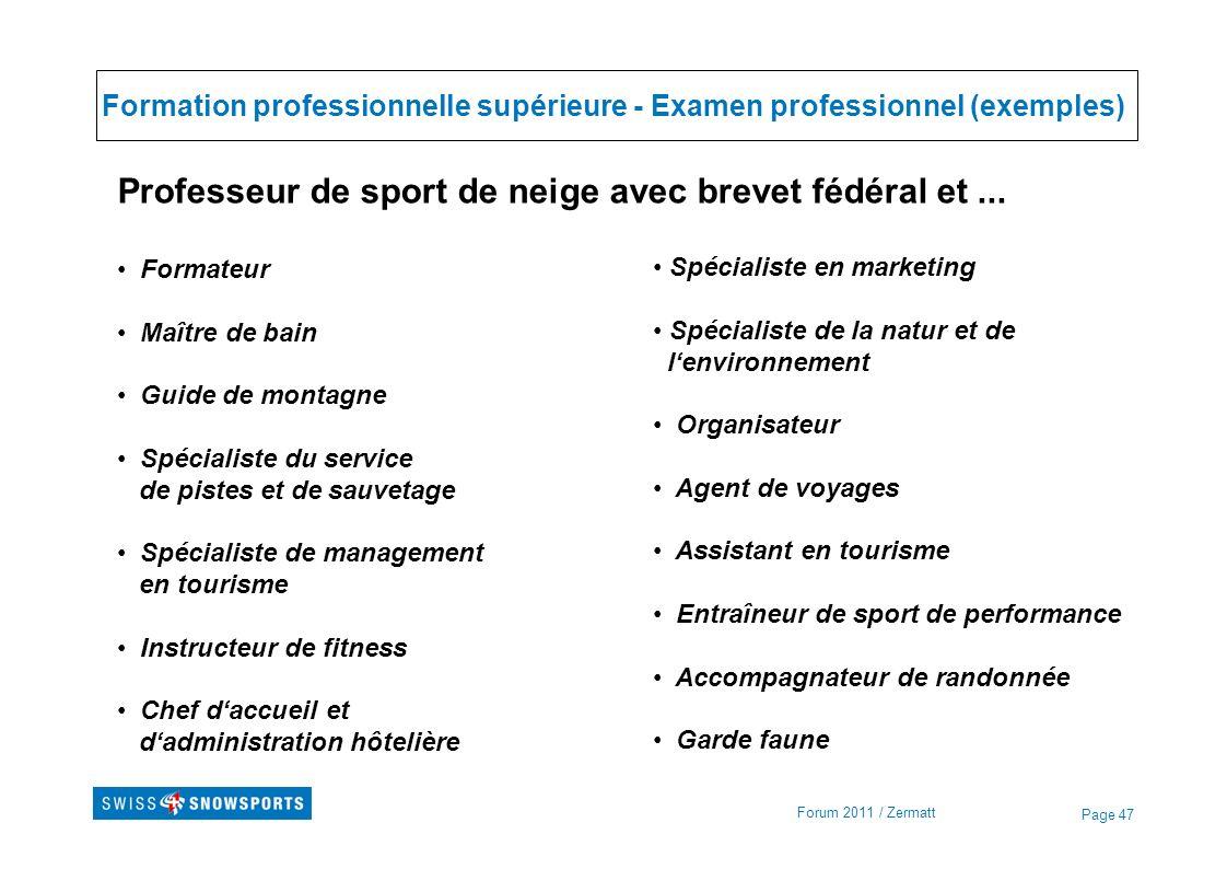 Formation professionnelle supérieure - Examen professionnel (exemples)