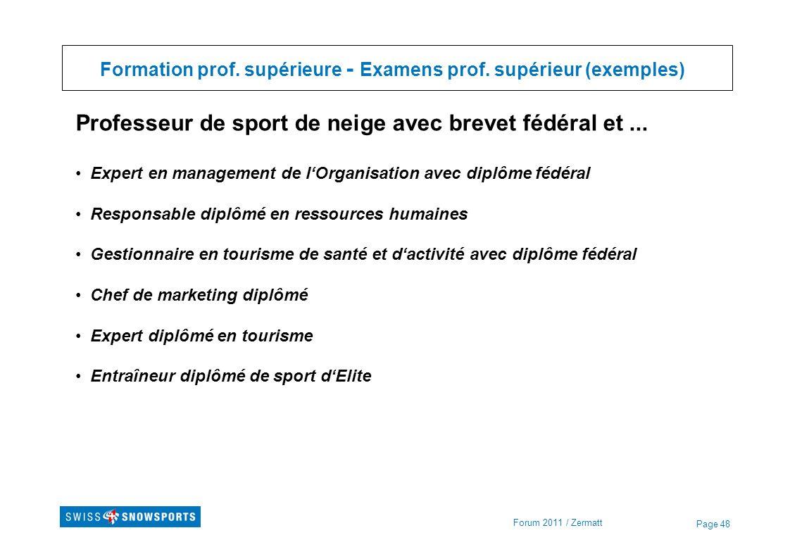 Formation prof. supérieure - Examens prof. supérieur (exemples)