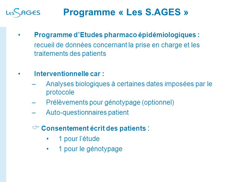 Programme « Les S.AGES »  Consentement écrit des patients :
