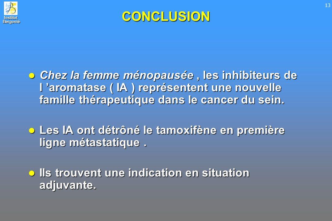 CONCLUSION Chez la femme ménopausée , les inhibiteurs de l 'aromatase ( IA ) représentent une nouvelle famille thérapeutique dans le cancer du sein.