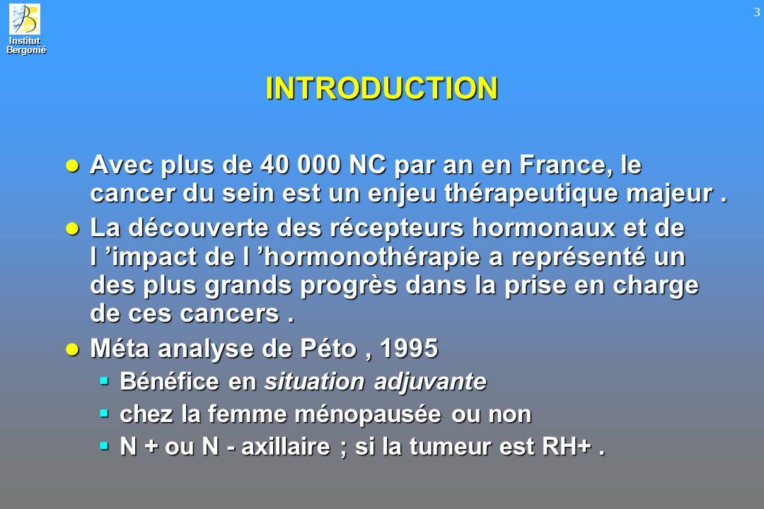 INTRODUCTION Avec plus de 40 000 NC par an en France, le cancer du sein est un enjeu thérapeutique majeur .