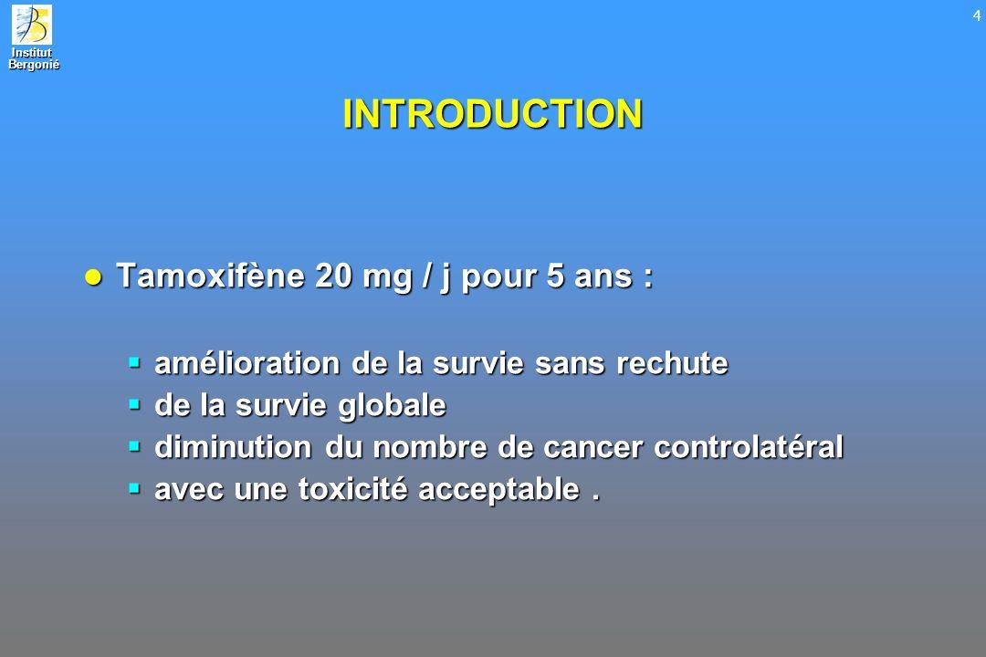 INTRODUCTION Tamoxifène 20 mg / j pour 5 ans :