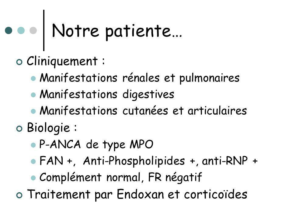 Notre patiente… Cliniquement : Biologie :