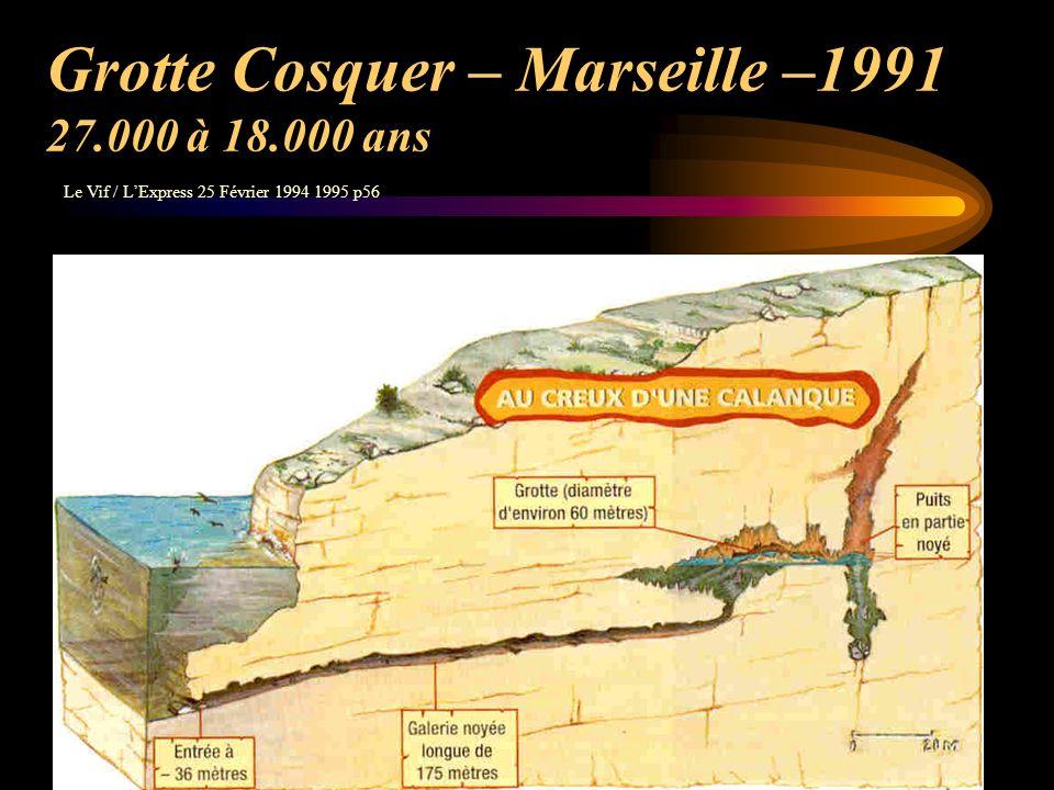 Grotte Cosquer – Marseille –1991 27.000 à 18.000 ans
