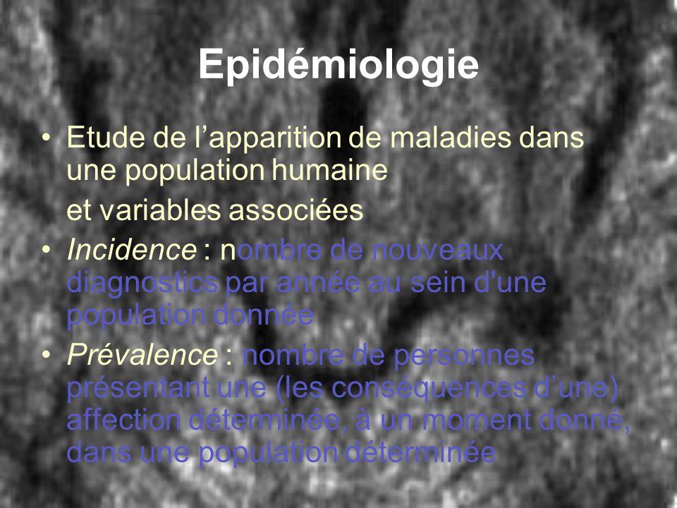 Epidémiologie Etude de l'apparition de maladies dans une population humaine. et variables associées.
