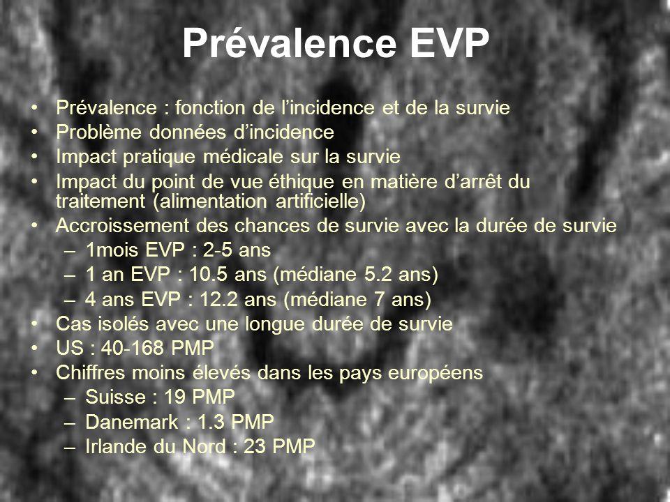 Prévalence EVP Prévalence : fonction de l'incidence et de la survie