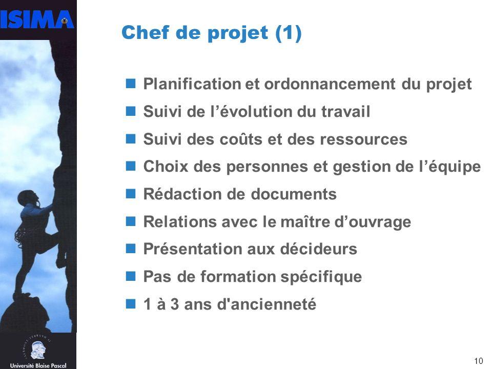 Chef de projet (1) Planification et ordonnancement du projet