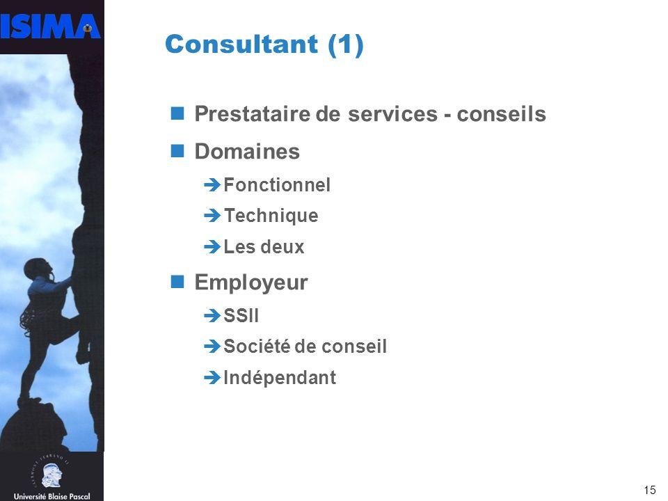 Consultant (1) Prestataire de services - conseils Domaines Employeur