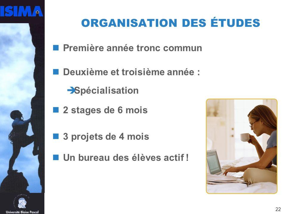 ORGANISATION DES ÉTUDES