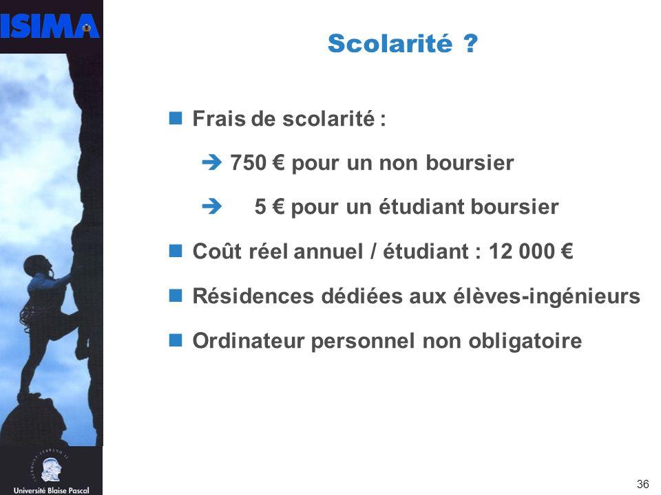 Scolarité Frais de scolarité : 750 € pour un non boursier