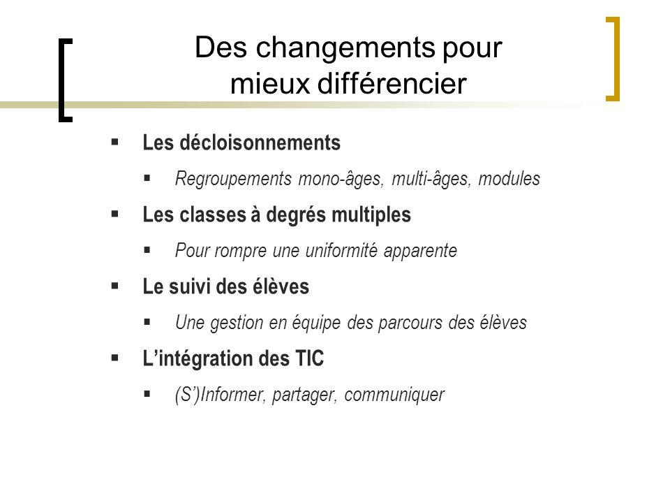 Des changements pour mieux différencier