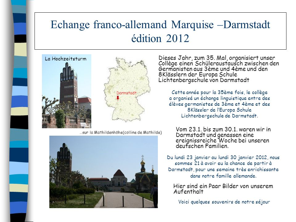 Echange franco-allemand Marquise –Darmstadt édition 2012