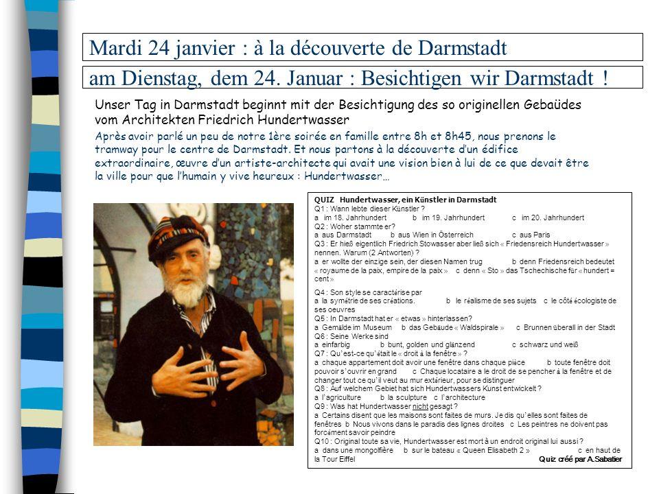 Mardi 24 janvier : à la découverte de Darmstadt