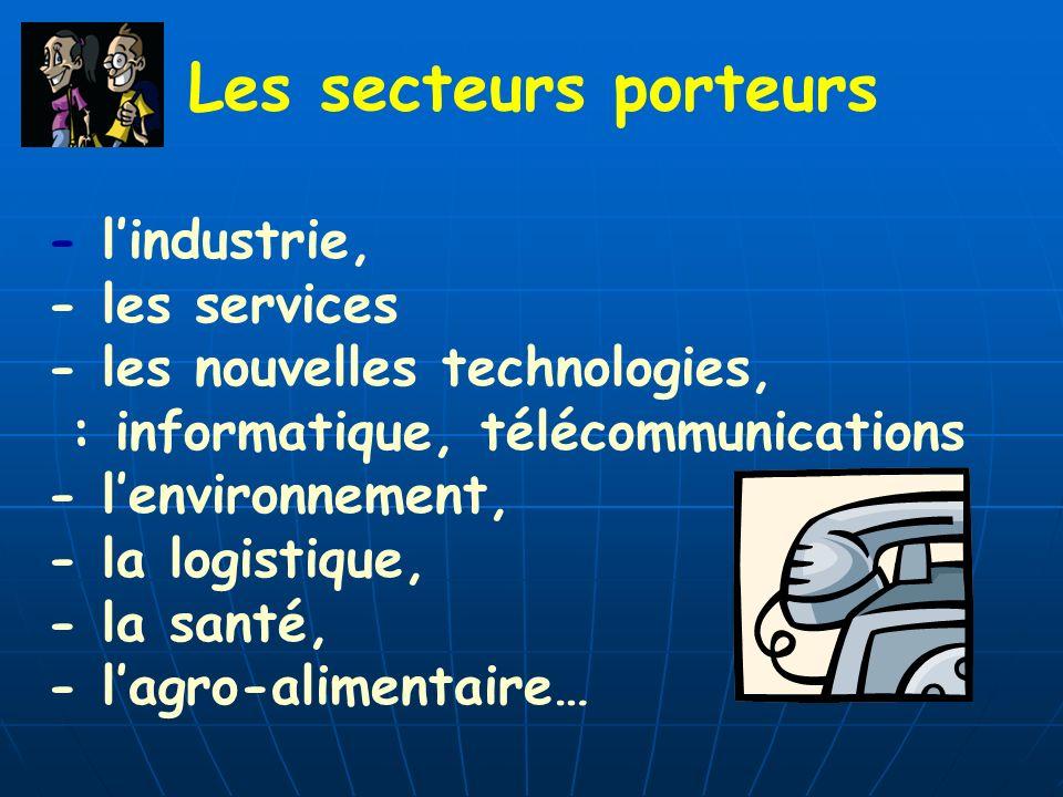 Les secteurs porteurs - l'industrie, - les services. - les nouvelles technologies, : informatique, télécommunications.