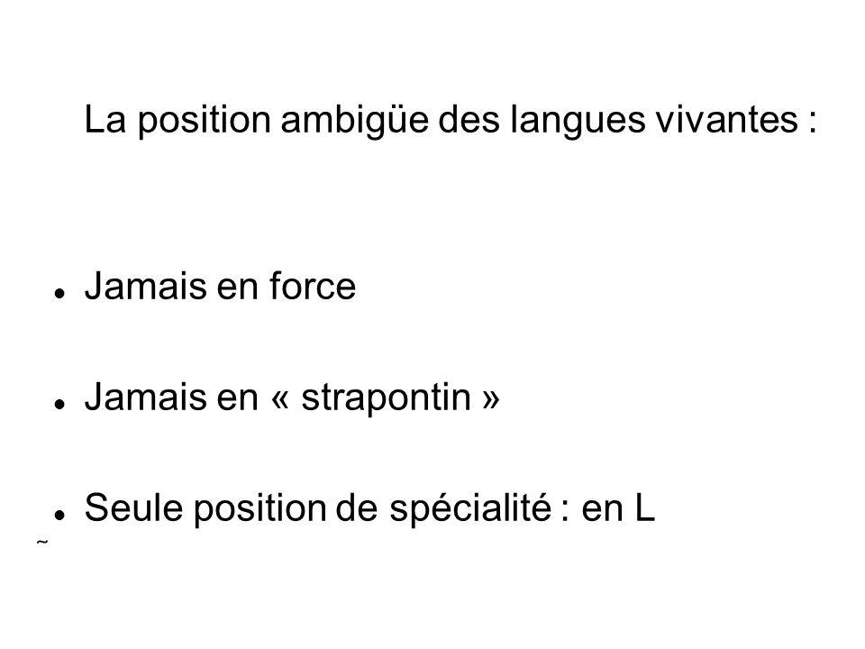 La position ambigüe des langues vivantes :