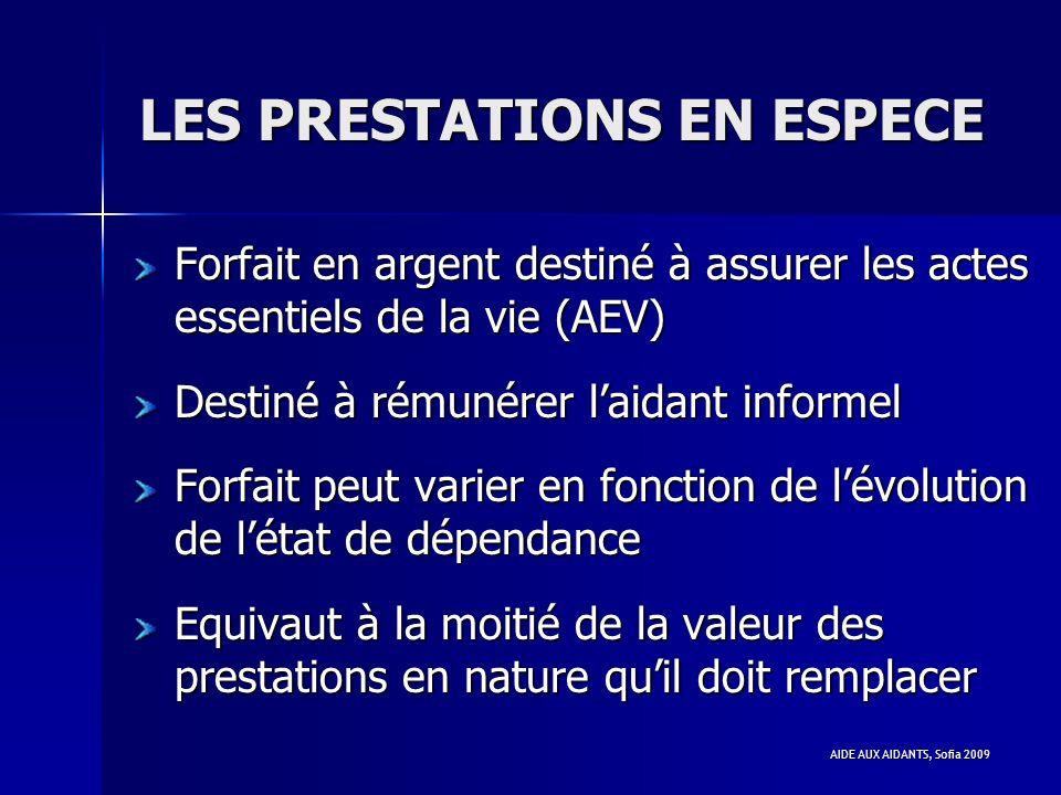 LES PRESTATIONS EN ESPECE
