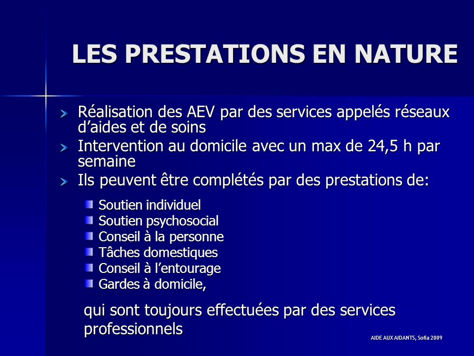 LES PRESTATIONS EN NATURE