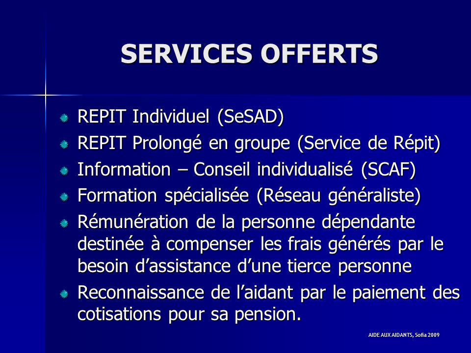SERVICES OFFERTS REPIT Individuel (SeSAD)