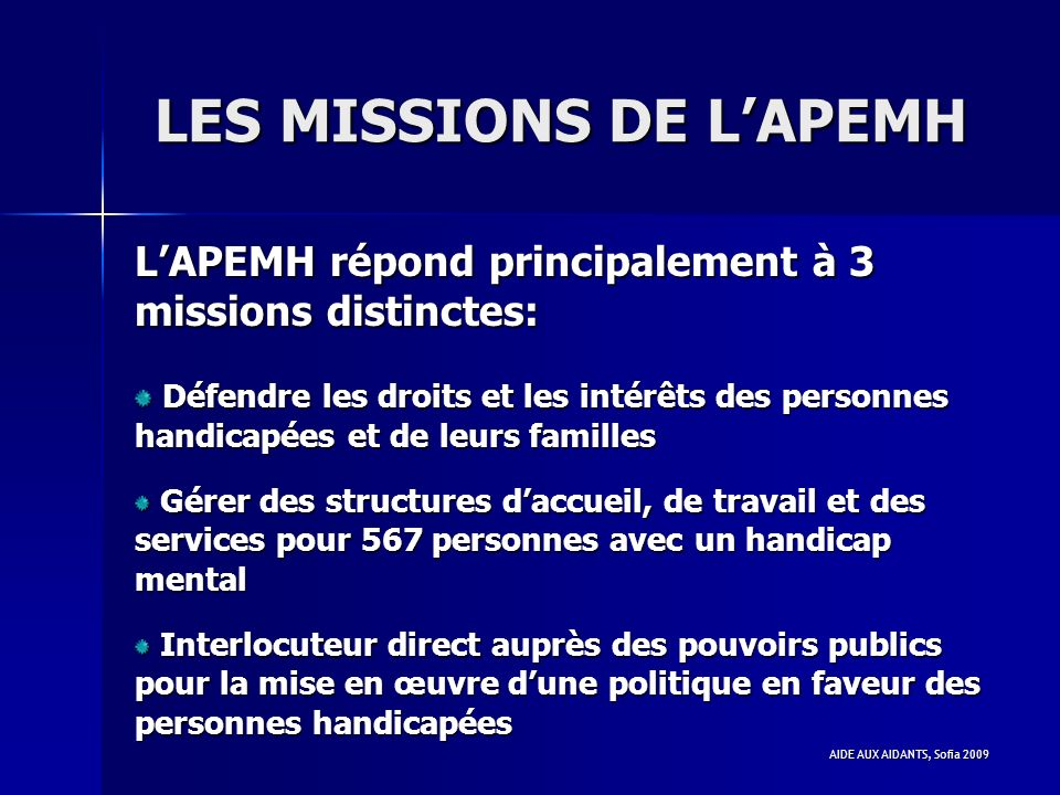 LES MISSIONS DE L'APEMH