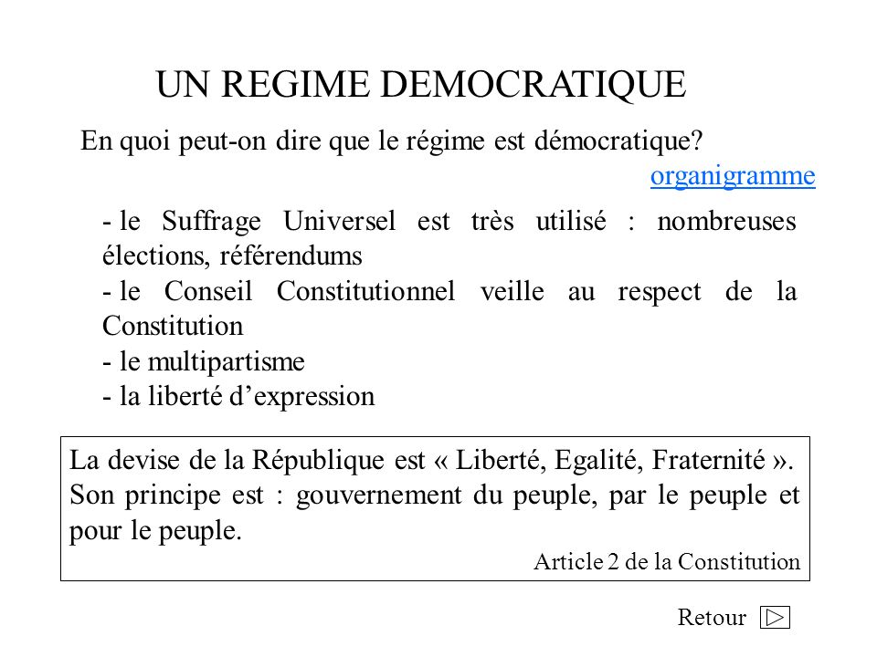 UN REGIME DEMOCRATIQUE