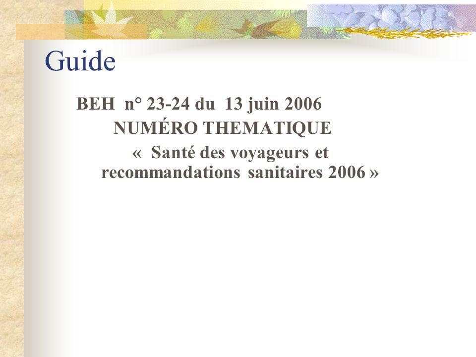« Santé des voyageurs et recommandations sanitaires 2006 »