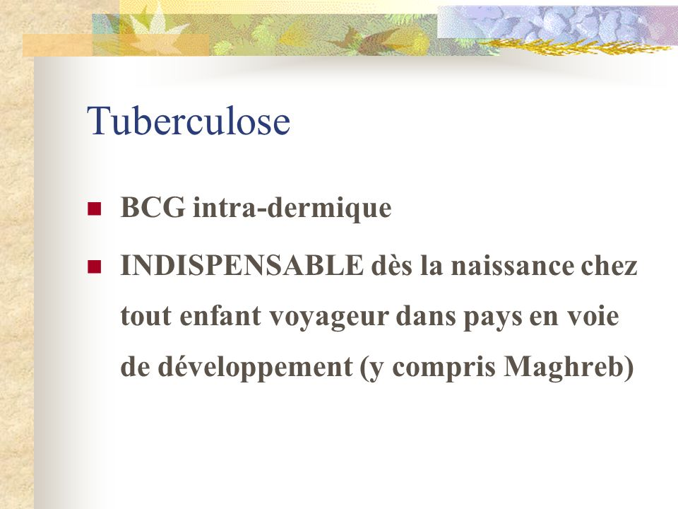 Tuberculose BCG intra-dermique