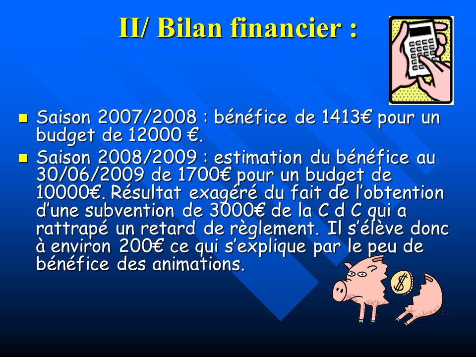 II/ Bilan financier : Saison 2007/2008 : bénéfice de 1413€ pour un budget de 12000 €.