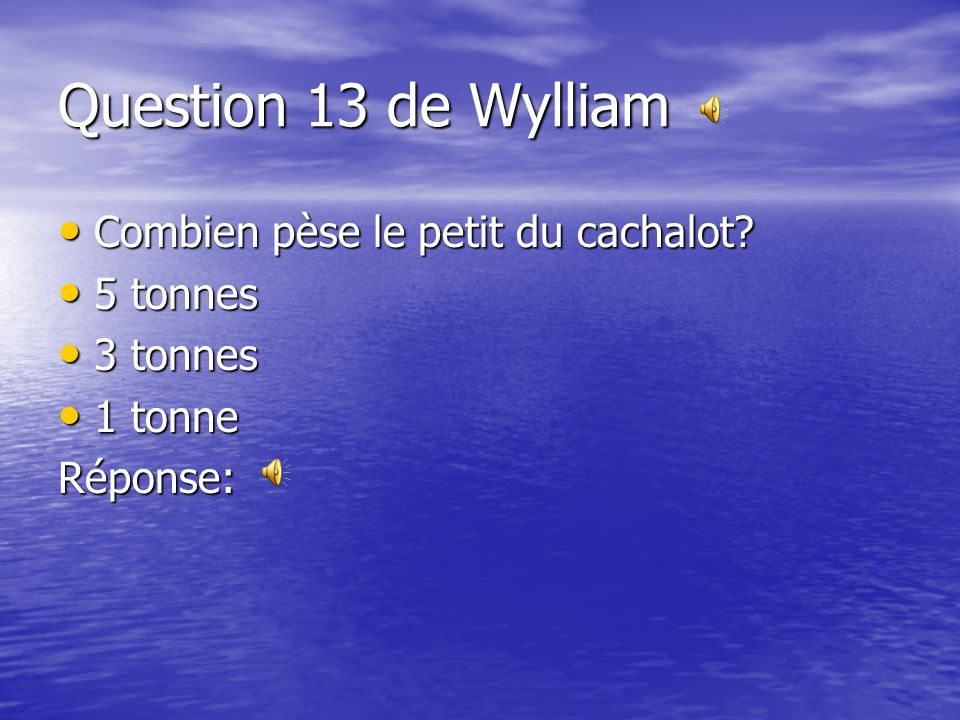 Question 13 de Wylliam Combien pèse le petit du cachalot 5 tonnes