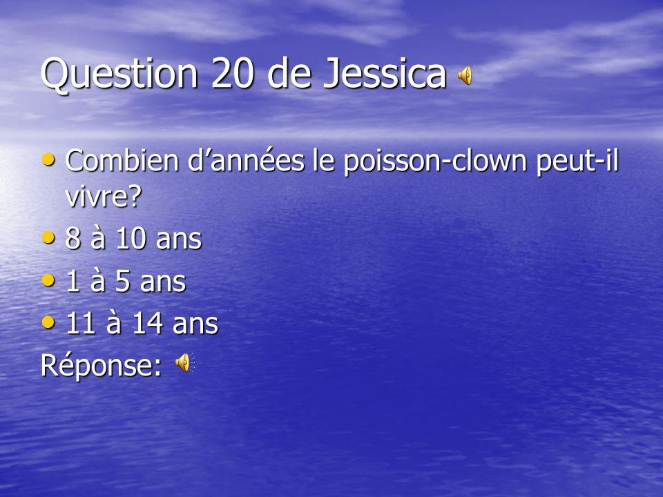 Question 20 de Jessica Combien d'années le poisson-clown peut-il vivre 8 à 10 ans. 1 à 5 ans. 11 à 14 ans.