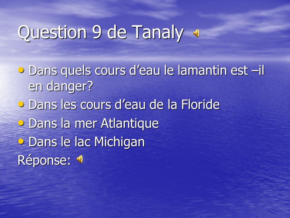 Question 9 de Tanaly Dans quels cours d'eau le lamantin est –il en danger Dans les cours d'eau de la Floride.