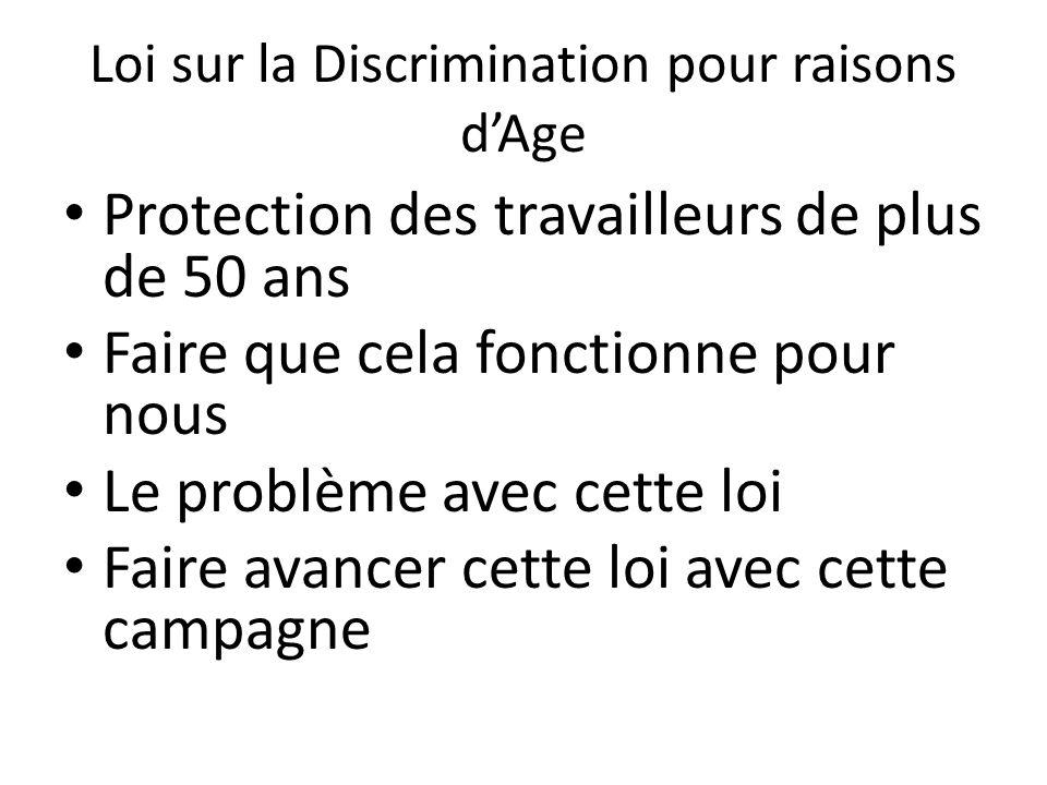 Loi sur la Discrimination pour raisons d'Age