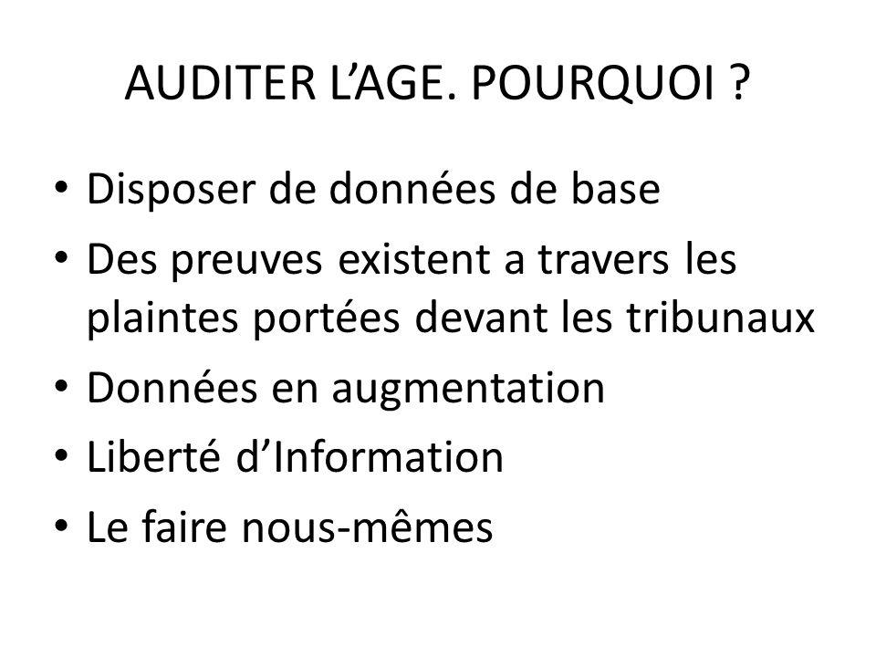 AUDITER L'AGE. POURQUOI