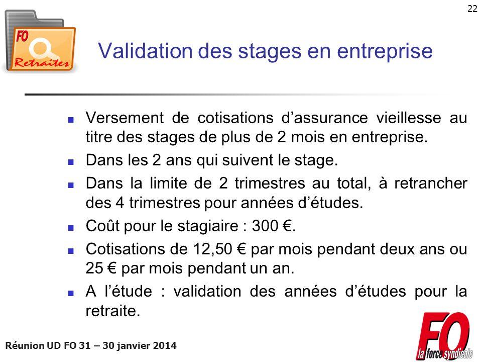 Validation des stages en entreprise