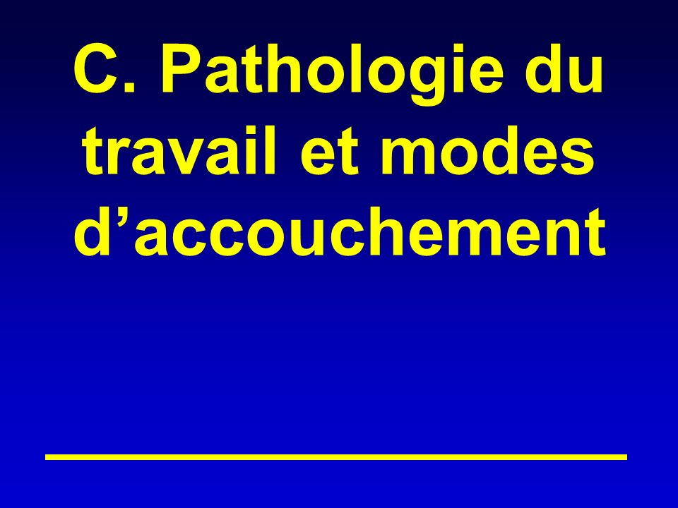 C. Pathologie du travail et modes d'accouchement