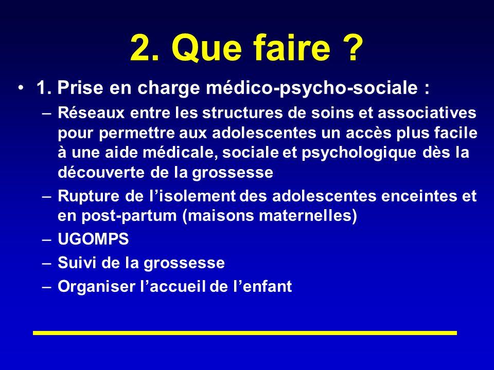 2. Que faire 1. Prise en charge médico-psycho-sociale :