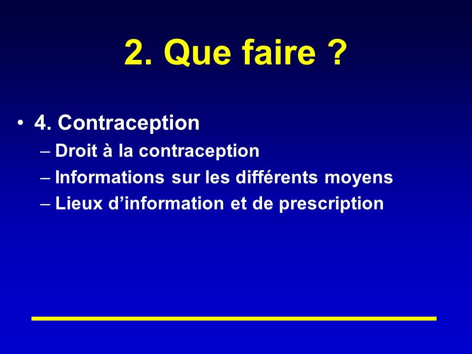 2. Que faire 4. Contraception Droit à la contraception