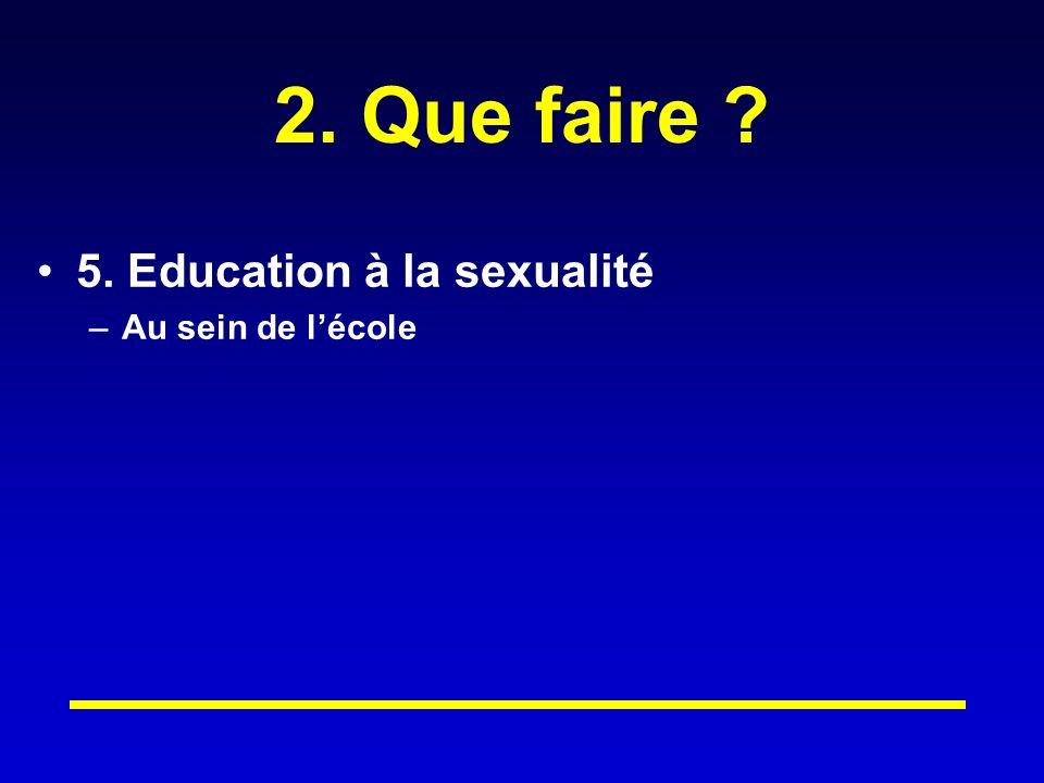 2. Que faire 5. Education à la sexualité Au sein de l'école